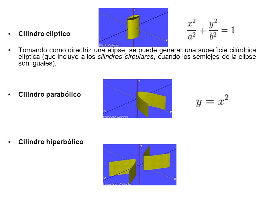 Cilindro elíptico Tomando como directriz una elipse, se puede generar una superficie cilíndrica elíptica (que incluye a los cilindros circulares, cuando los semiejes de la elipse son iguales)..