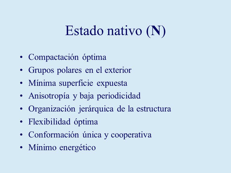 Estado nativo (N) Compactación óptima Grupos polares en el exterior Mínima superficie expuesta Anisotropía y baja periodicidad Organización jerárquica de la estructura Flexibilidad óptima Conformación única y cooperativa Mínimo energético