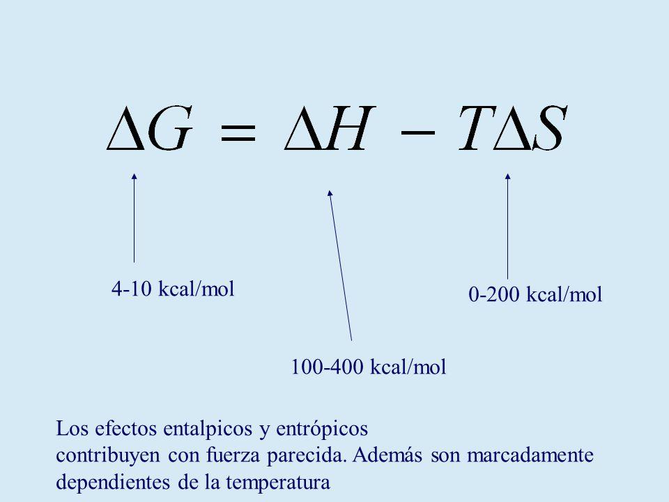 100-400 kcal/mol 0-200 kcal/mol 4-10 kcal/mol Los efectos entalpicos y entrópicos contribuyen con fuerza parecida.