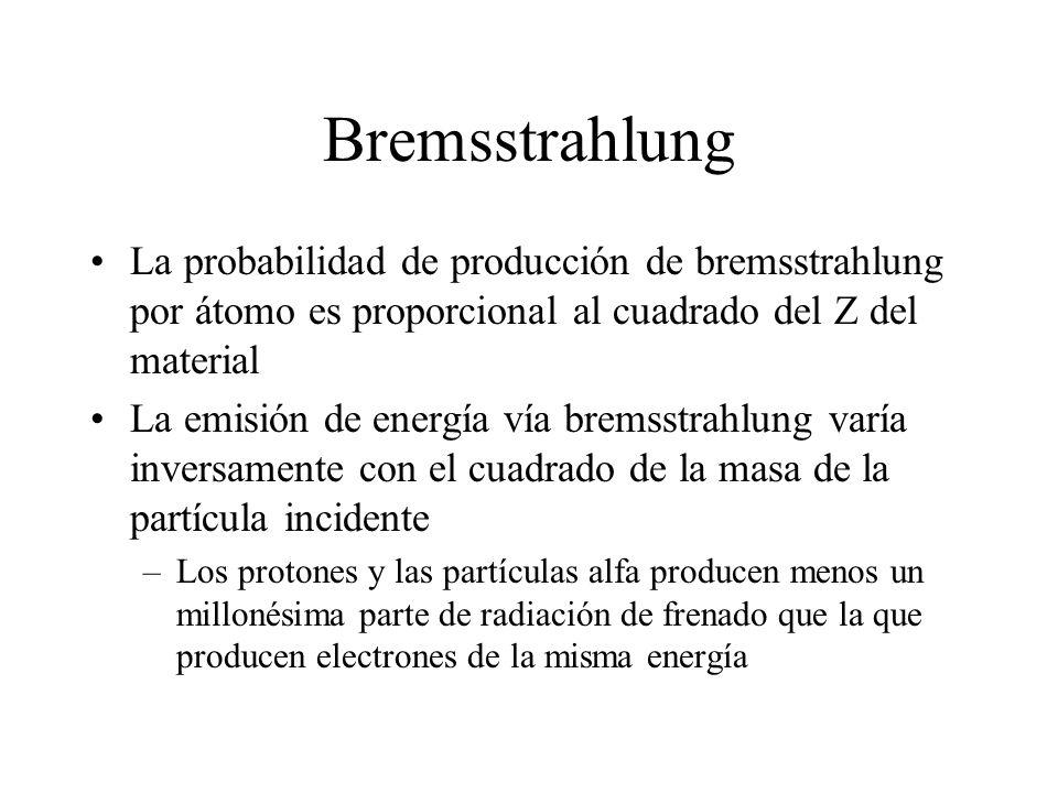 Bremsstrahlung La probabilidad de producción de bremsstrahlung por átomo es proporcional al cuadrado del Z del material La emisión de energía vía brem
