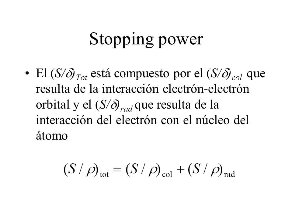 Stopping power El (S/ ) Tot está compuesto por el (S/ ) col que resulta de la interacción electrón-electrón orbital y el (S/ ) rad que resulta de la i