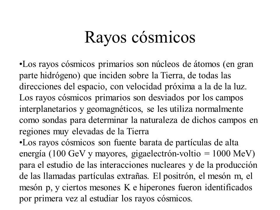 Rayos cósmicos Los rayos cósmicos primarios son núcleos de átomos (en gran parte hidrógeno) que inciden sobre la Tierra, de todas las direcciones del