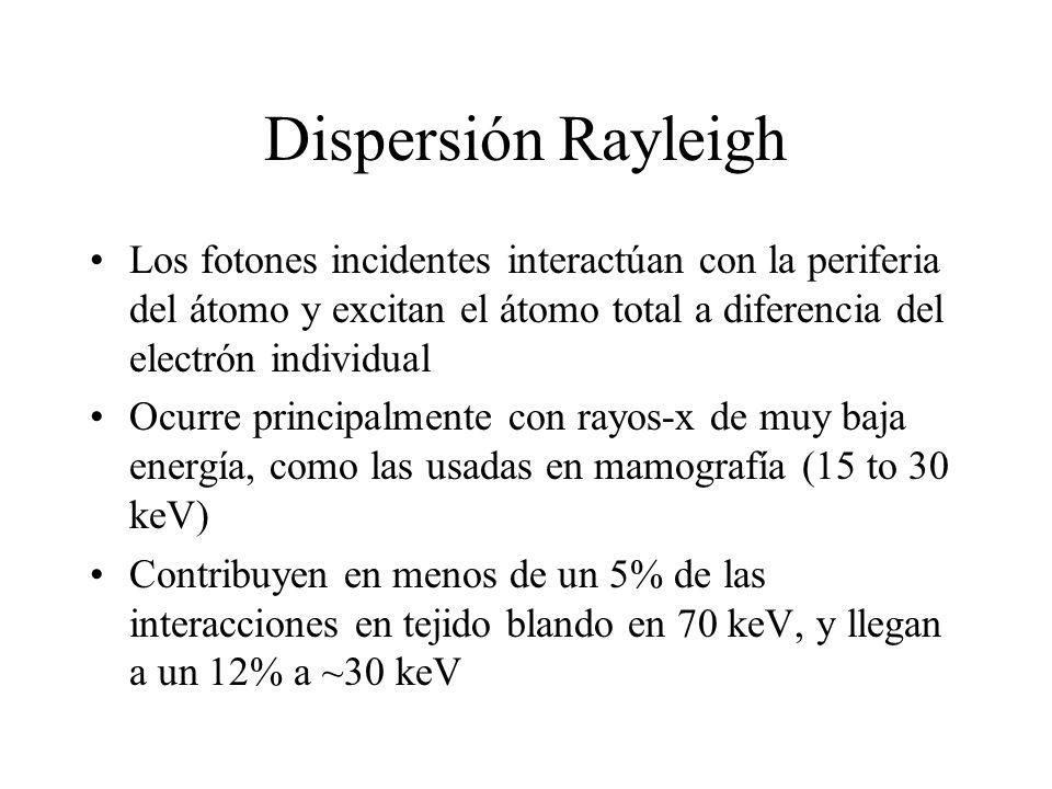 Dispersión Rayleigh Los fotones incidentes interactúan con la periferia del átomo y excitan el átomo total a diferencia del electrón individual Ocurre