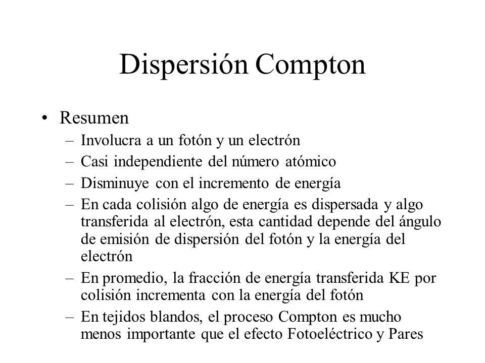 Dispersión Compton Resumen –Involucra a un fotón y un electrón –Casi independiente del número atómico –Disminuye con el incremento de energía –En cada