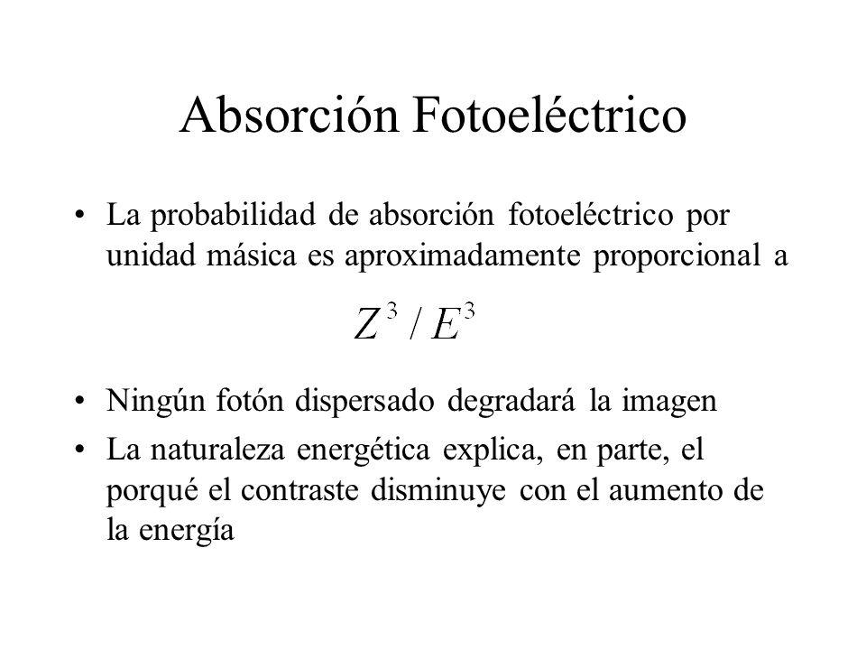 Absorción Fotoeléctrico La probabilidad de absorción fotoeléctrico por unidad másica es aproximadamente proporcional a Ningún fotón dispersado degrada