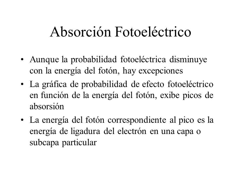Absorción Fotoeléctrico Aunque la probabilidad fotoeléctrica disminuye con la energía del fotón, hay excepciones La gráfica de probabilidad de efecto
