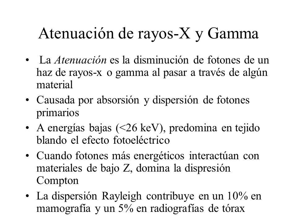Atenuación de rayos-X y Gamma La Atenuación es la disminución de fotones de un haz de rayos-x o gamma al pasar a través de algún material Causada por