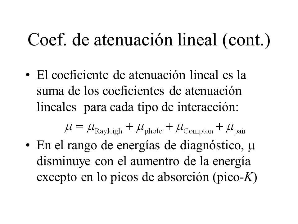 Coef. de atenuación lineal (cont.) El coeficiente de atenuación lineal es la suma de los coeficientes de atenuación lineales para cada tipo de interac