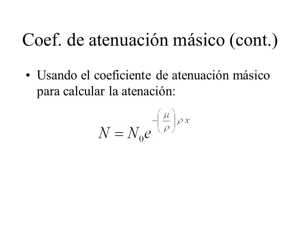 Coef. de atenuación másico (cont.) Usando el coeficiente de atenuación másico para calcular la atenación: