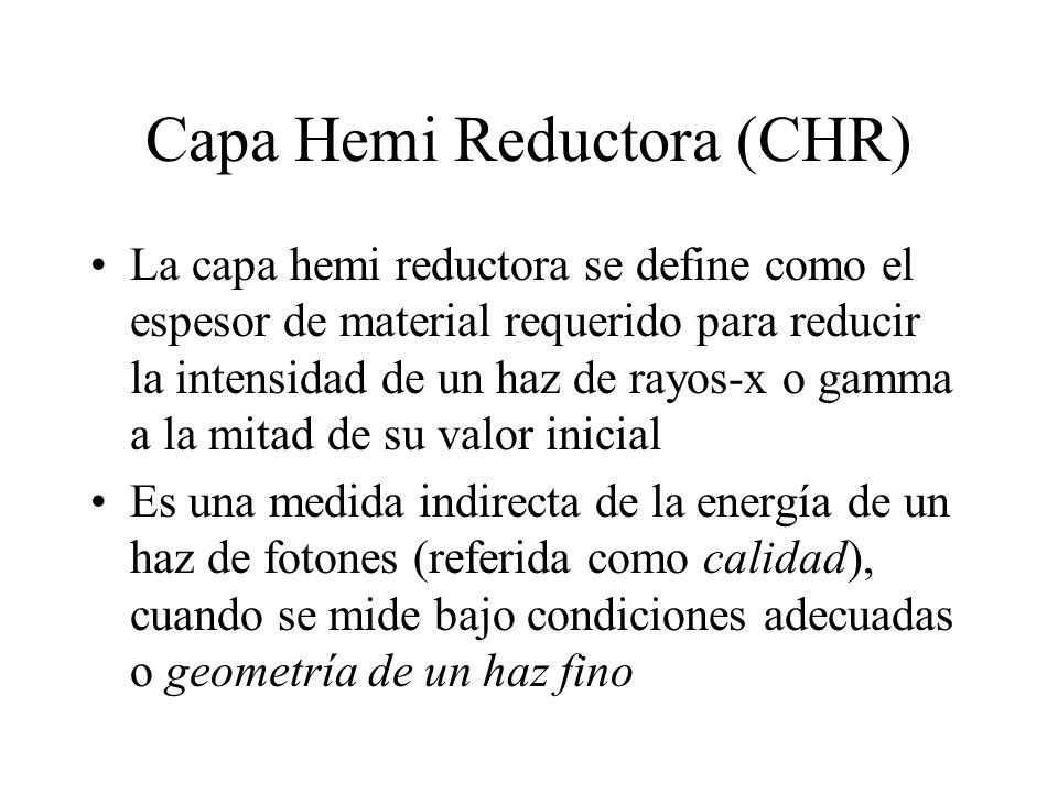 Capa Hemi Reductora (CHR) La capa hemi reductora se define como el espesor de material requerido para reducir la intensidad de un haz de rayos-x o gam