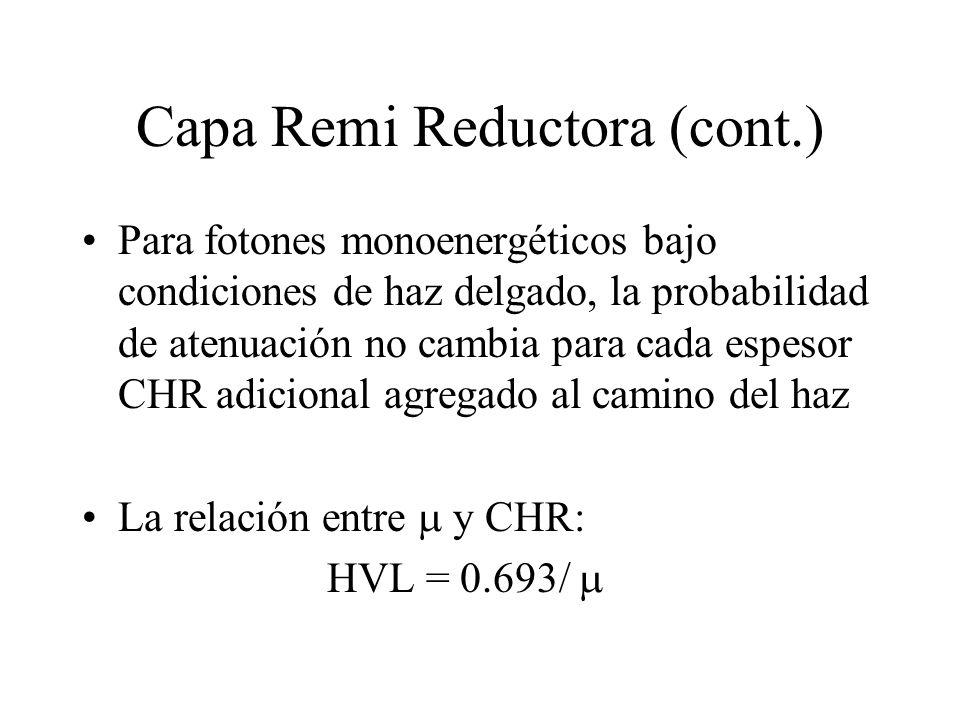 Capa Remi Reductora (cont.) Para fotones monoenergéticos bajo condiciones de haz delgado, la probabilidad de atenuación no cambia para cada espesor CH