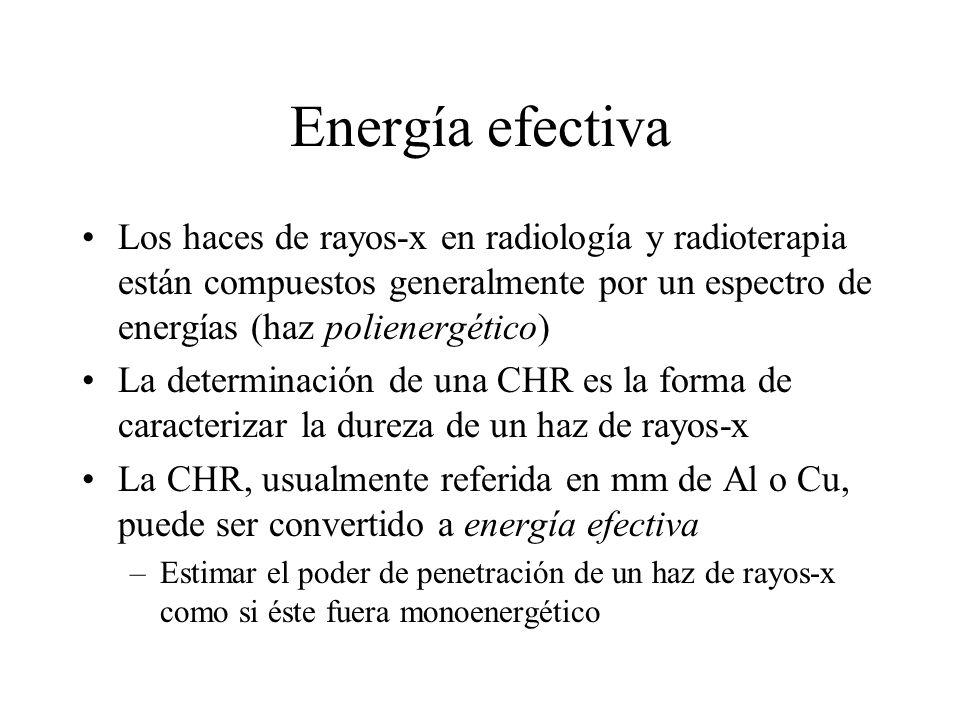 Energía efectiva Los haces de rayos-x en radiología y radioterapia están compuestos generalmente por un espectro de energías (haz polienergético) La d