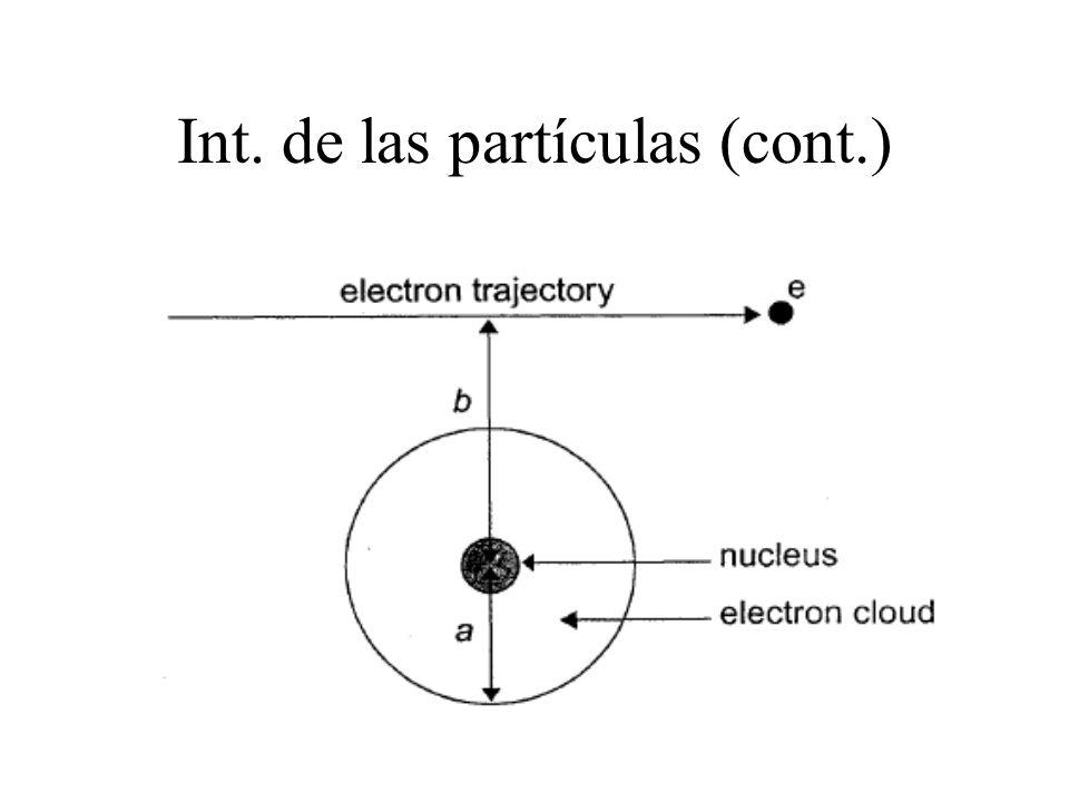 Stopping power El (S/ ) Tot está compuesto por el (S/ ) col que resulta de la interacción electrón-electrón orbital y el (S/ ) rad que resulta de la interacción del electrón con el núcleo del átomo