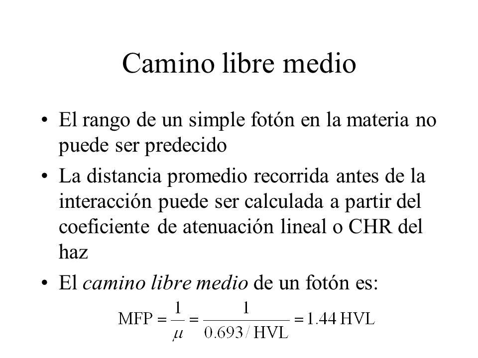 Camino libre medio El rango de un simple fotón en la materia no puede ser predecido La distancia promedio recorrida antes de la interacción puede ser