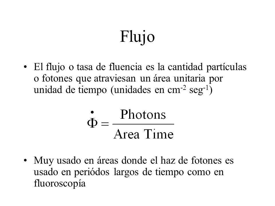 Flujo El flujo o tasa de fluencia es la cantidad partículas o fotones que atraviesan un área unitaria por unidad de tiempo (unidades en cm -2 seg -1 )