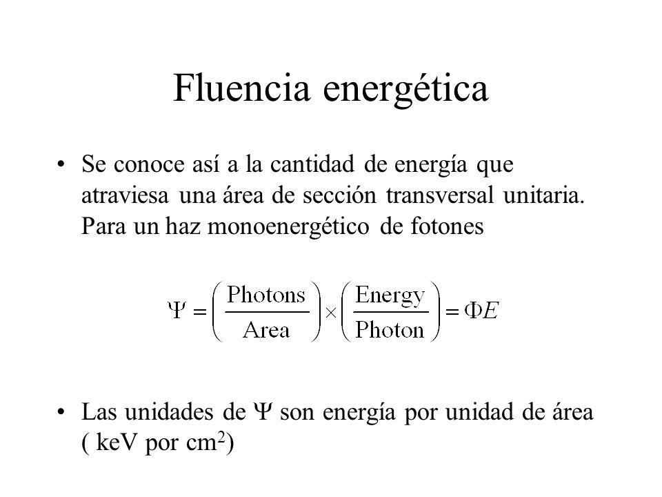 Fluencia energética Se conoce así a la cantidad de energía que atraviesa una área de sección transversal unitaria. Para un haz monoenergético de foton