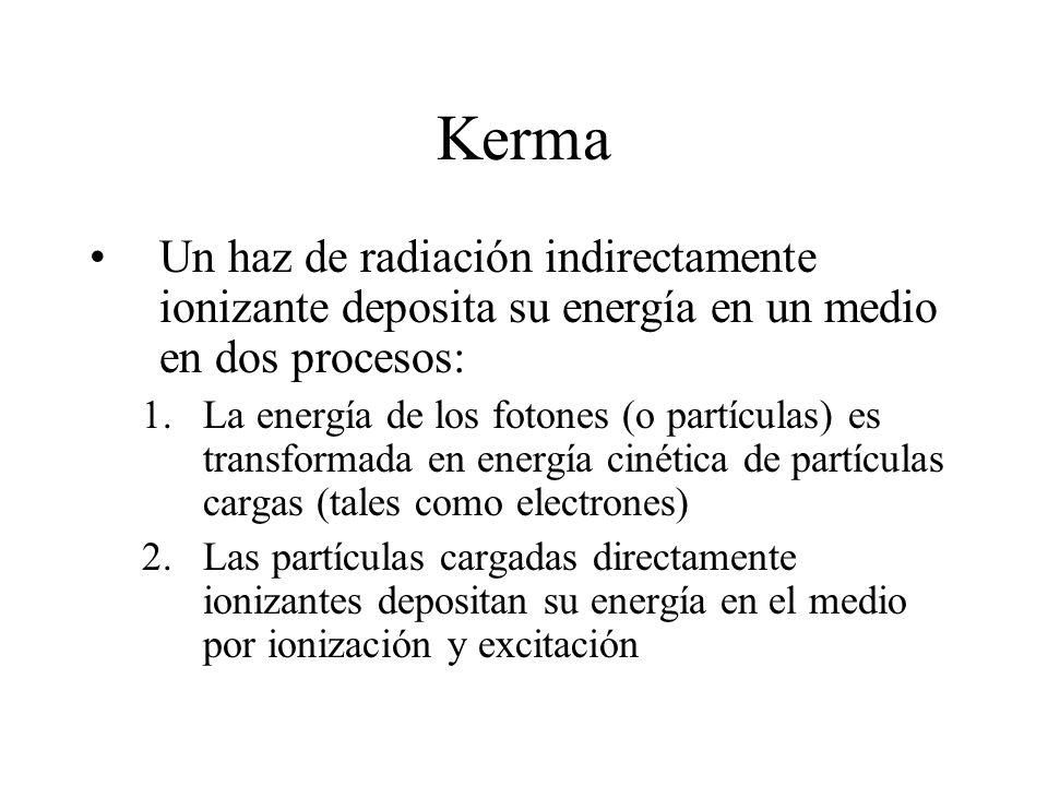 Kerma Un haz de radiación indirectamente ionizante deposita su energía en un medio en dos procesos: 1.La energía de los fotones (o partículas) es tran