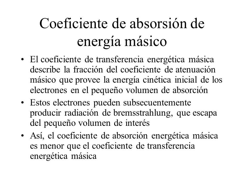 Coeficiente de absorsión de energía másico El coeficiente de transferencia energética másica describe la fracción del coeficiente de atenuación másico