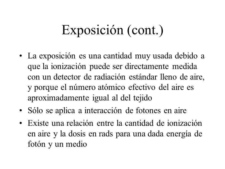 Exposición (cont.) La exposición es una cantidad muy usada debido a que la ionización puede ser directamente medida con un detector de radiación están
