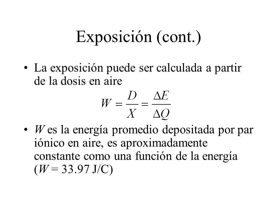 Exposición (cont.) La exposición puede ser calculada a partir de la dosis en aire W es la energía promedio depositada por par iónico en aire, es aprox