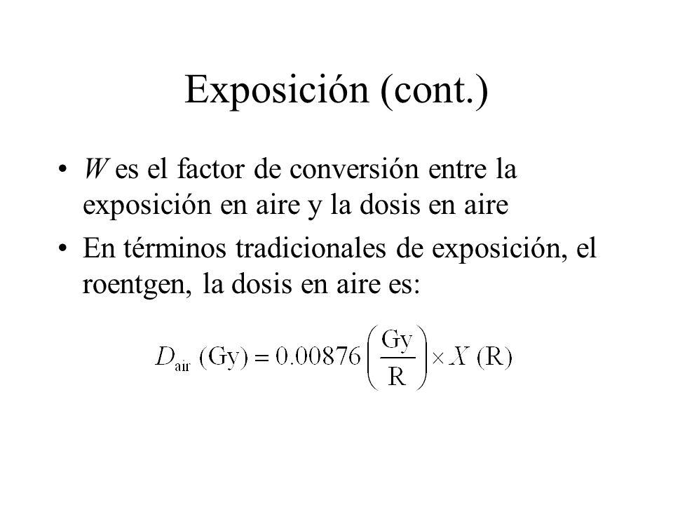 Exposición (cont.) W es el factor de conversión entre la exposición en aire y la dosis en aire En términos tradicionales de exposición, el roentgen, l