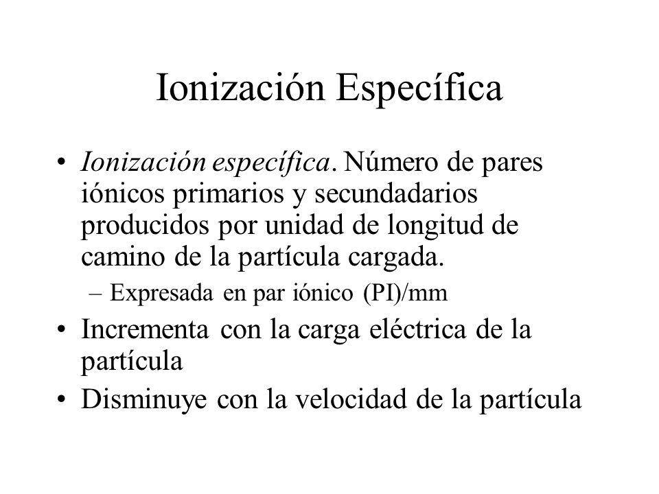 Ionización Específica Ionización específica. Número de pares iónicos primarios y secundadarios producidos por unidad de longitud de camino de la partí