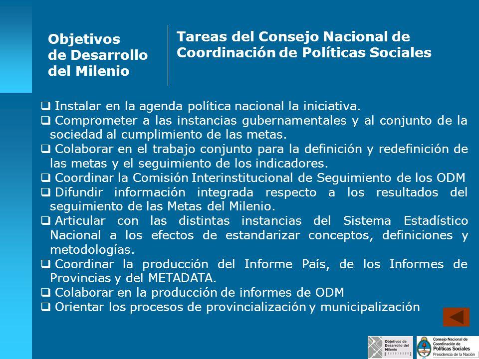 Objetivos de Desarrollo del Milenio Tareas del Consejo Nacional de Coordinación de Políticas Sociales Instalar en la agenda política nacional la inici