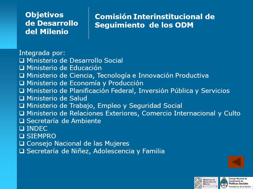 Objetivos de Desarrollo del Milenio Comisión Interinstitucional de Seguimiento de los ODM Integrada por: Ministerio de Desarrollo Social Ministerio de