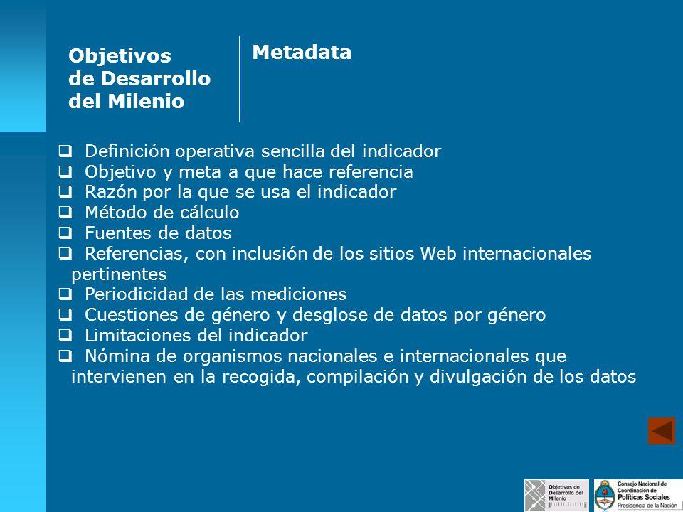 Objetivos de Desarrollo del Milenio Metadata Definición operativa sencilla del indicador Objetivo y meta a que hace referencia Razón por la que se usa