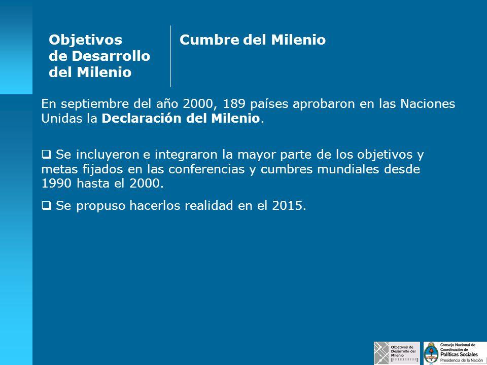 En septiembre del año 2000, 189 países aprobaron en las Naciones Unidas la Declaración del Milenio. Se incluyeron e integraron la mayor parte de los o