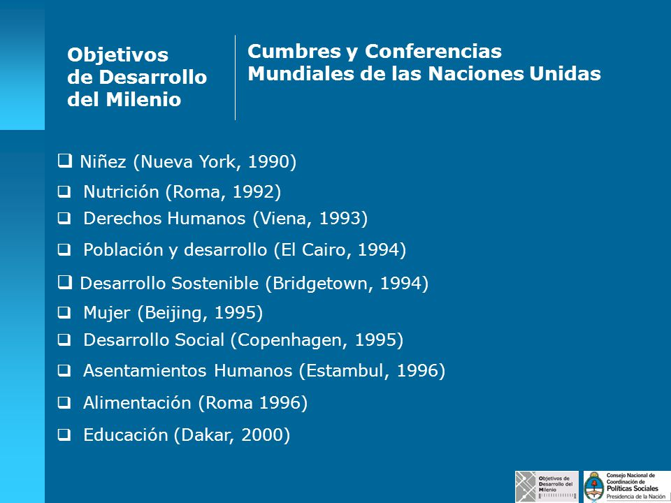 Desarrollo Social (Copenhagen, 1995) Objetivos de Desarrollo del Milenio Cumbres y Conferencias Mundiales de las Naciones Unidas Niñez (Nueva York, 19