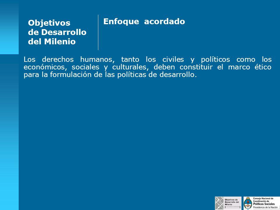 Objetivos de Desarrollo del Milenio Tareas del Consejo Nacional de Coordinación de Políticas Sociales Instalar en la agenda política nacional la iniciativa.