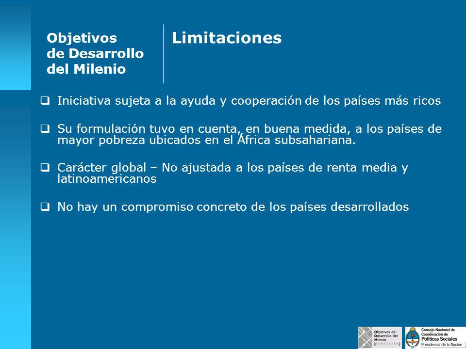 Objetivos de Desarrollo del Milenio Limitaciones Iniciativa sujeta a la ayuda y cooperación de los países más ricos Su formulación tuvo en cuenta, en