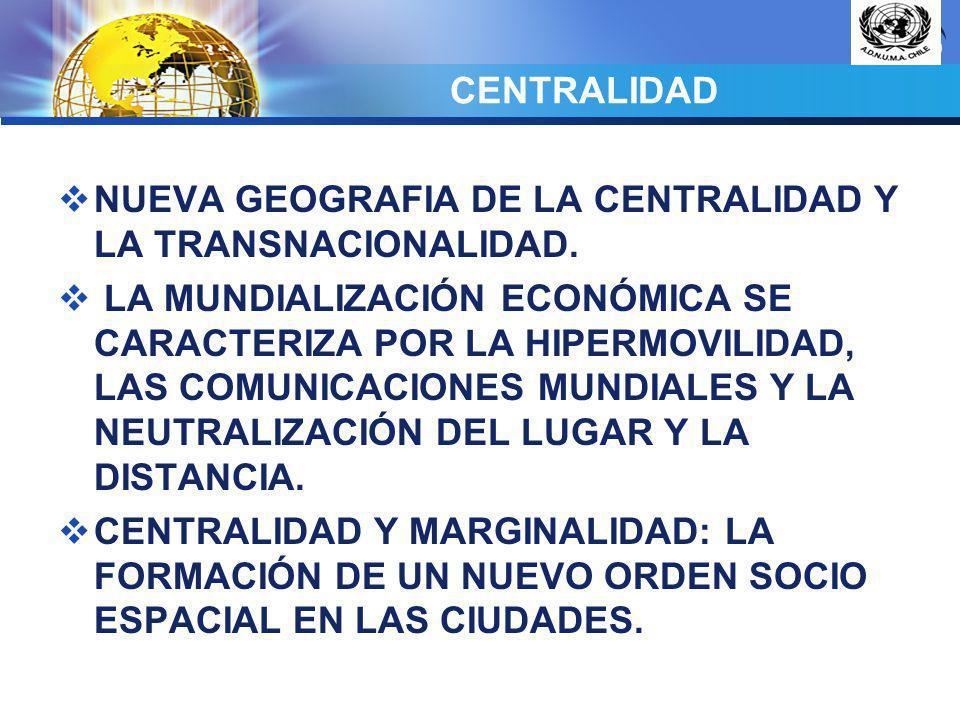 LOGO CENTRALIDAD NUEVA GEOGRAFIA DE LA CENTRALIDAD Y LA TRANSNACIONALIDAD. LA MUNDIALIZACIÓN ECONÓMICA SE CARACTERIZA POR LA HIPERMOVILIDAD, LAS COMUN