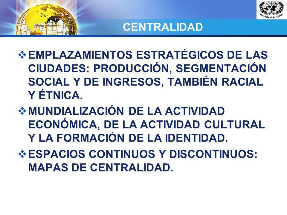 LOGO CENTRALIDAD EMPLAZAMIENTOS ESTRATÉGICOS DE LAS CIUDADES: PRODUCCIÓN, SEGMENTACIÓN SOCIAL Y DE INGRESOS, TAMBIÉN RACIAL Y ÉTNICA. MUNDIALIZACIÓN D