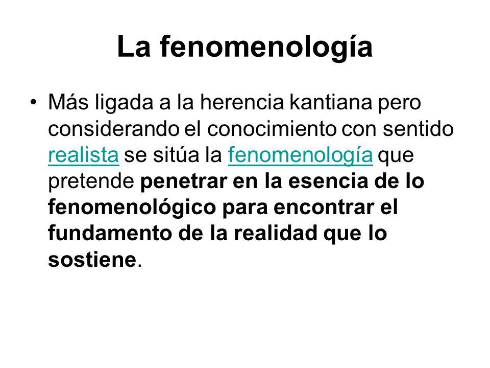 La fenomenología Más ligada a la herencia kantiana pero considerando el conocimiento con sentido realista se sitúa la fenomenología que pretende penetrar en la esencia de lo fenomenológico para encontrar el fundamento de la realidad que lo sostiene.