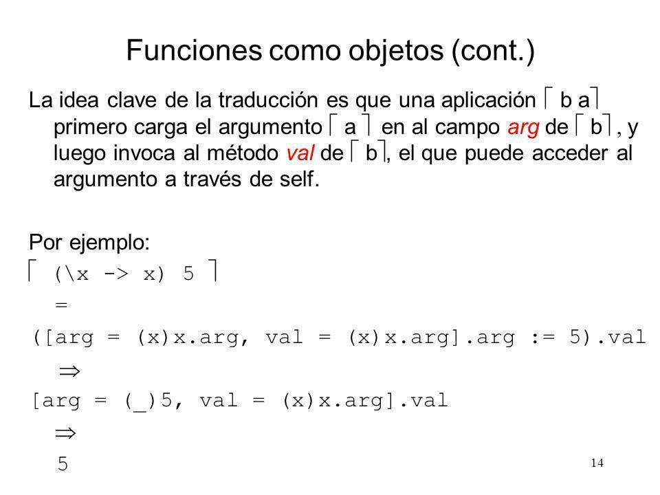 14 Funciones como objetos (cont.) La idea clave de la traducción es que una aplicación b a primero carga el argumento a en al campo arg de b y luego i