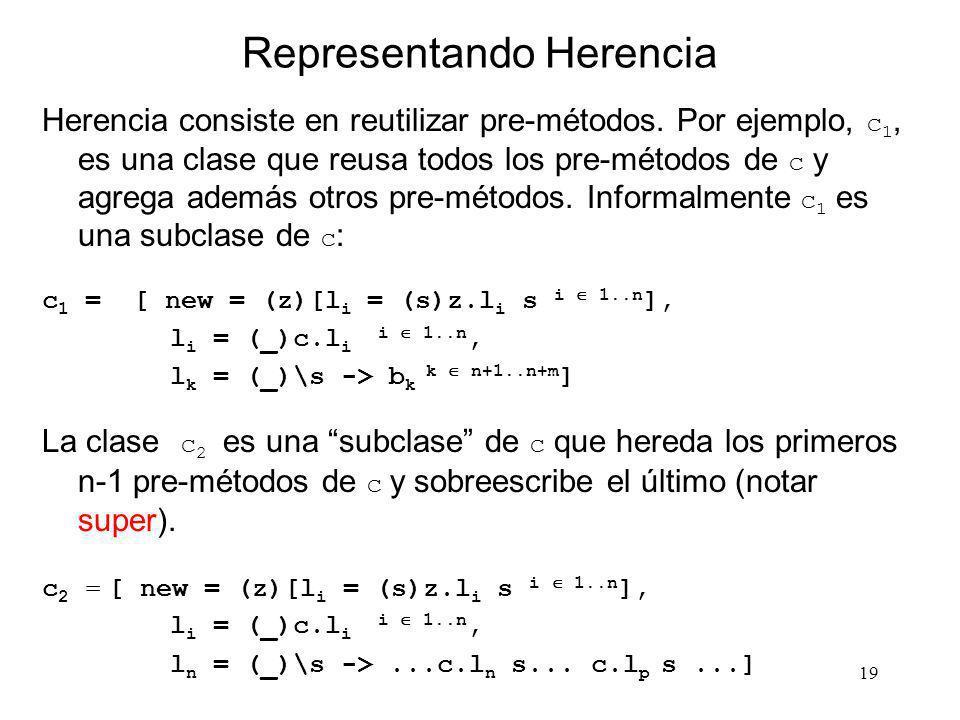 19 Representando Herencia Herencia consiste en reutilizar pre-métodos. Por ejemplo, c 1, es una clase que reusa todos los pre-métodos de c y agrega ad