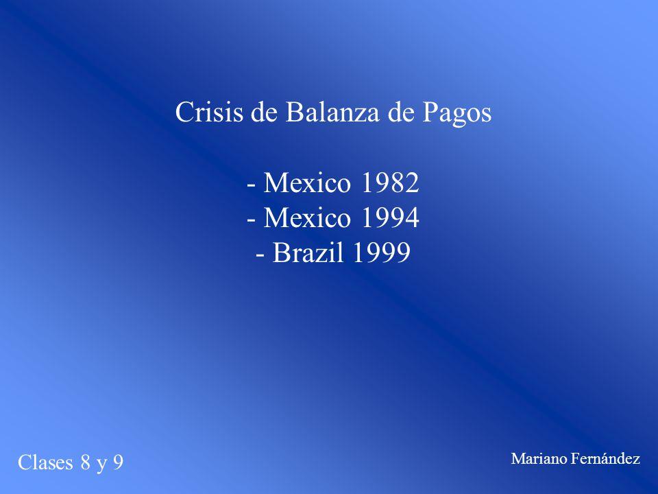 Crisis de Balanza de Pagos - Mexico 1982 - Mexico 1994 - Brazil 1999 Clases 8 y 9 Mariano Fernández
