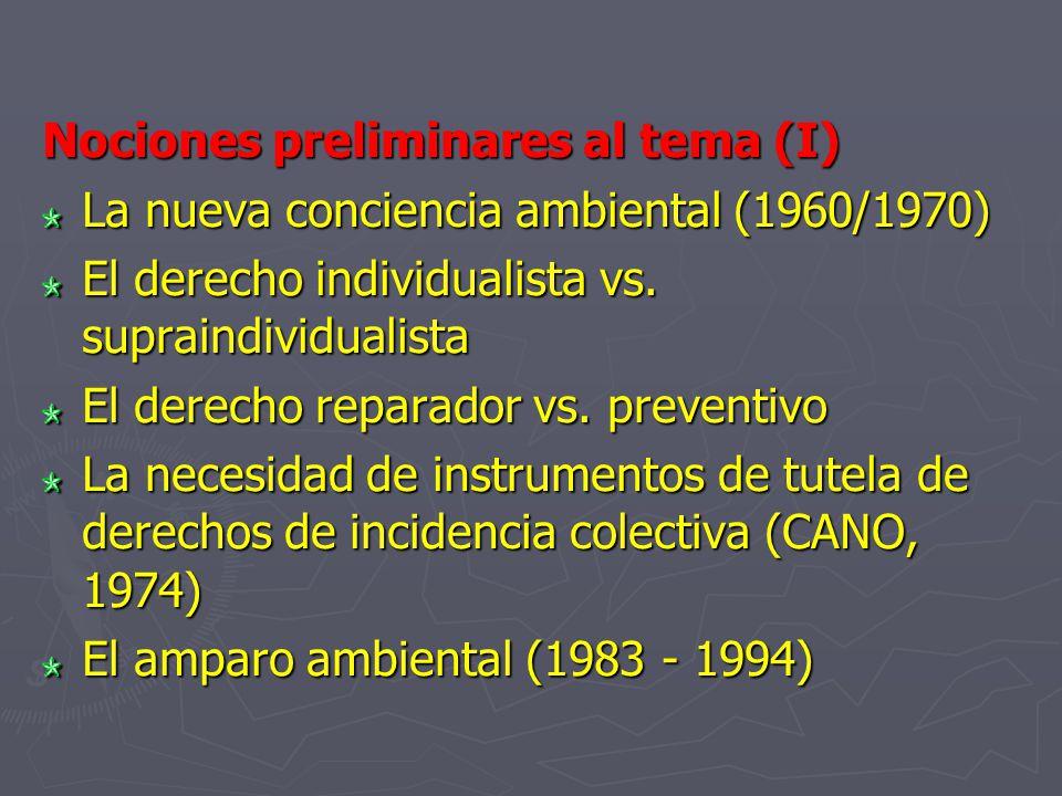Nociones preliminares al tema (I) La nueva conciencia ambiental (1960/1970) El derecho individualista vs. supraindividualista El derecho reparador vs.
