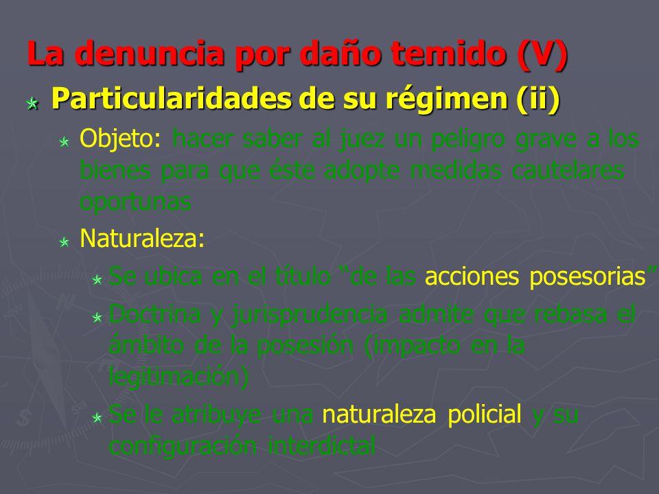 La denuncia por daño temido (V) Particularidades de su régimen (ii) Objeto: hacer saber al juez un peligro grave a los bienes para que éste adopte med