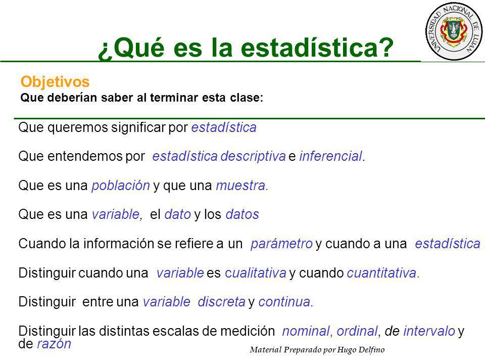 Material Preparado por Hugo Delfino ¿Qué es la estadística? Objetivos Que deberían saber al terminar esta clase: Que queremos significar por estadísti
