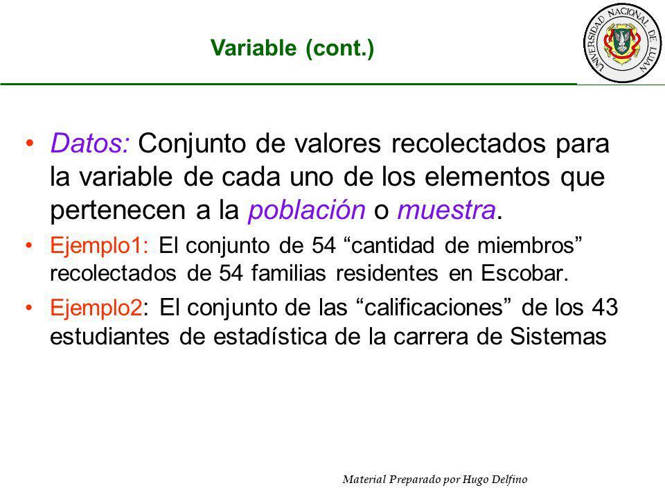 Material Preparado por Hugo Delfino Variable (cont.) Datos: Conjunto de valores recolectados para la variable de cada uno de los elementos que pertene
