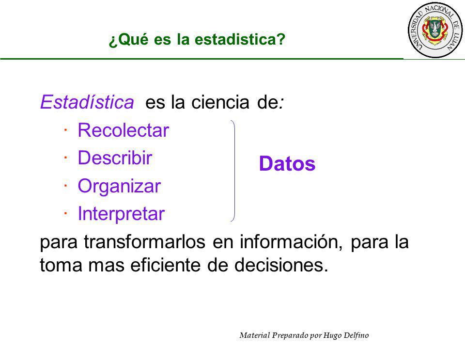 Material Preparado por Hugo Delfino ¿Qué es la estadistica? Estadística es la ciencia de: ·Recolectar ·Describir ·Organizar ·Interpretar para transfor