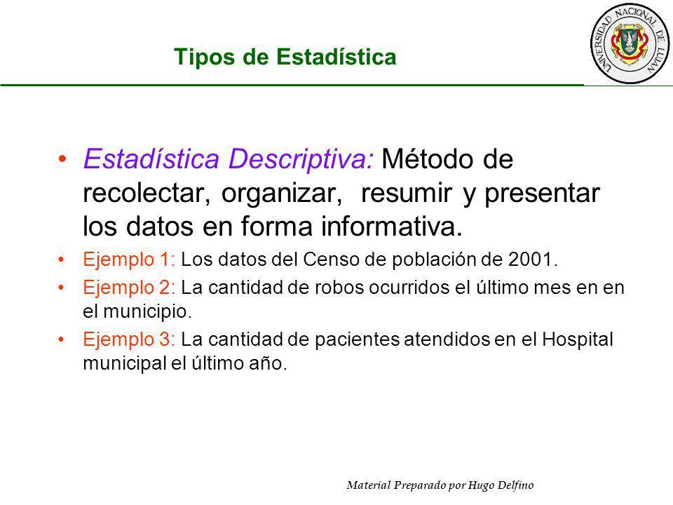 Material Preparado por Hugo Delfino Tipos de Estadística Estadística Descriptiva: Método de recolectar, organizar, resumir y presentar los datos en fo