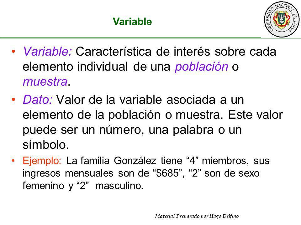 Material Preparado por Hugo Delfino Variable: Característica de interés sobre cada elemento individual de una población o muestra. Dato: Valor de la v