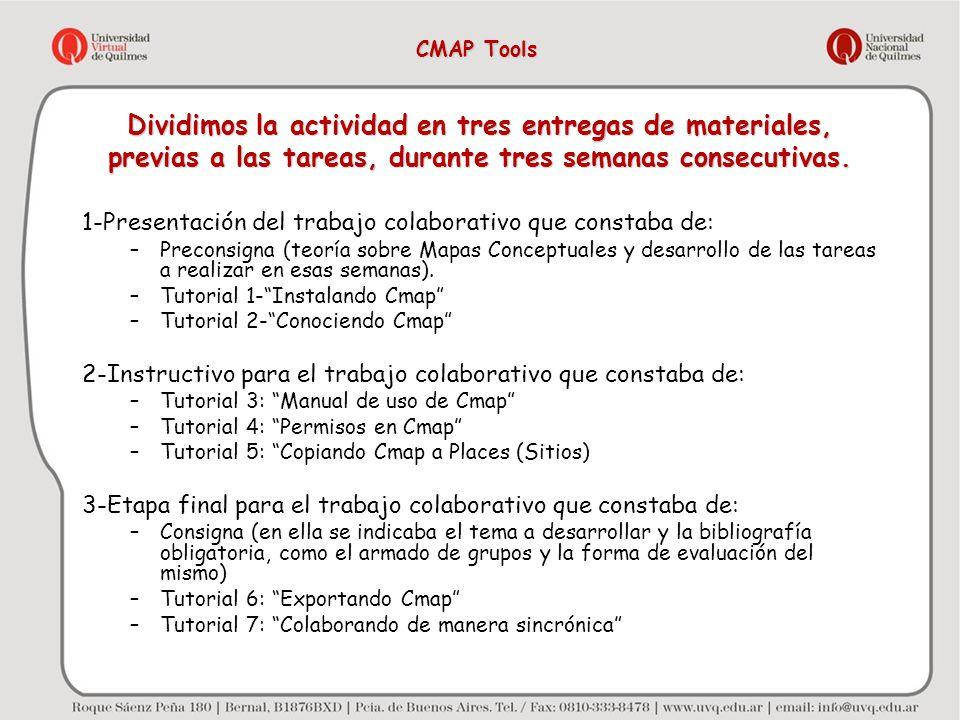 Dividimos la actividad en tres entregas de materiales, previas a las tareas, durante tres semanas consecutivas. 1-Presentación del trabajo colaborativ