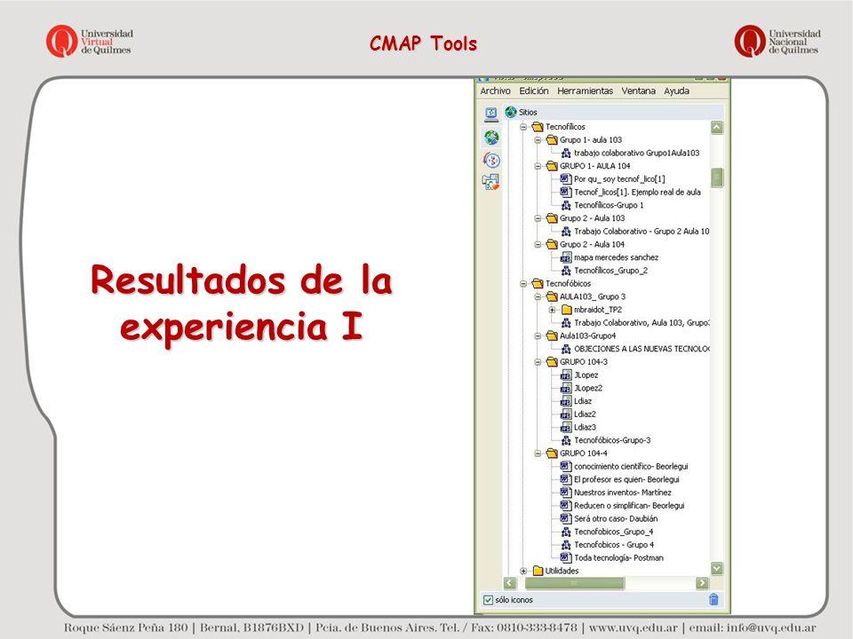Resultados de la experiencia I CMAP Tools