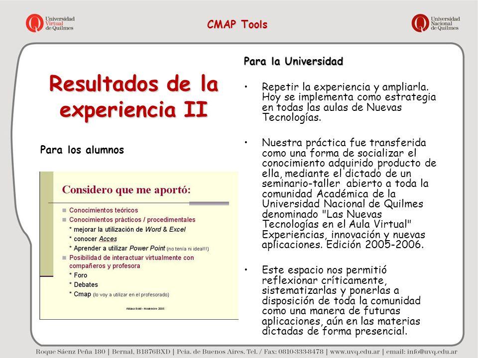 Resultados de la experiencia II Para los alumnos Para la Universidad Repetir la experiencia y ampliarla. Hoy se implementa como estrategia en todas la