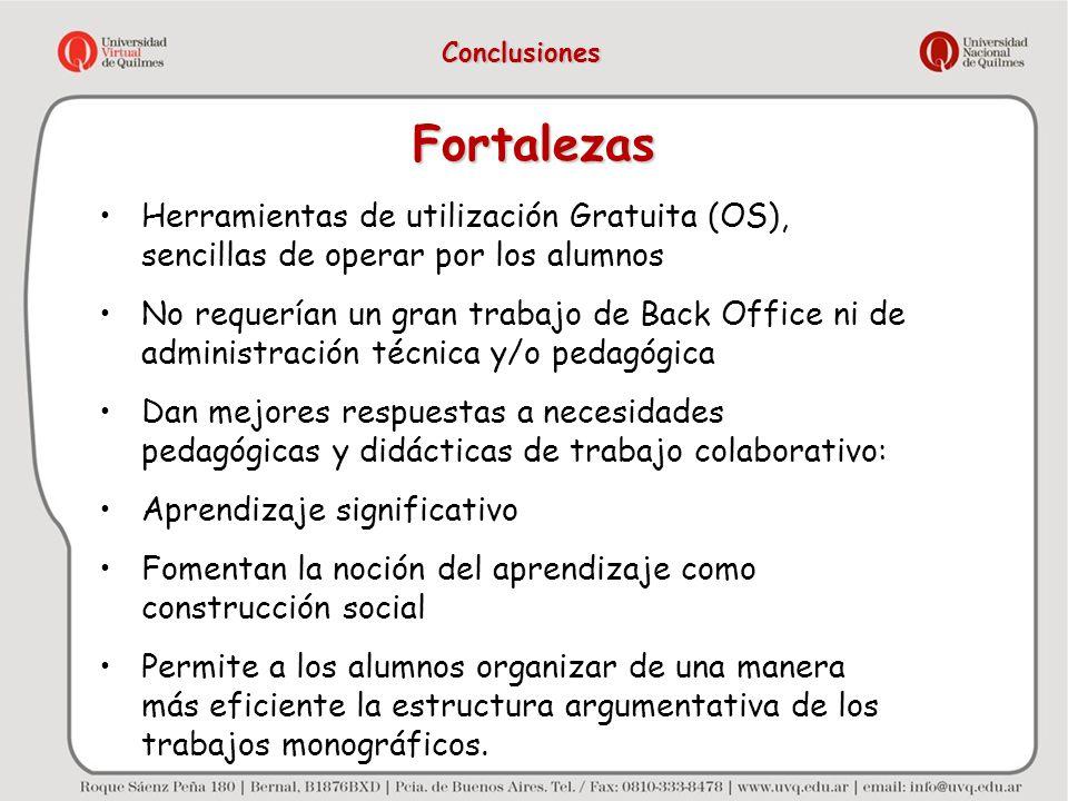 Fortalezas Herramientas de utilización Gratuita (OS), sencillas de operar por los alumnos No requerían un gran trabajo de Back Office ni de administra